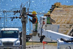 Utility workers in Cherry Picker