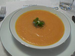 Bowl of coconut pumpkin soup
