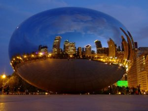 Chicago skyline in reflection