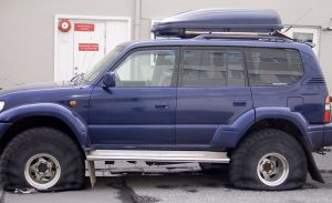 SUV with flat tires