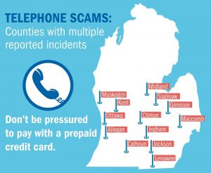 Map of Michigan showing places where there have been numerous phone scams reported