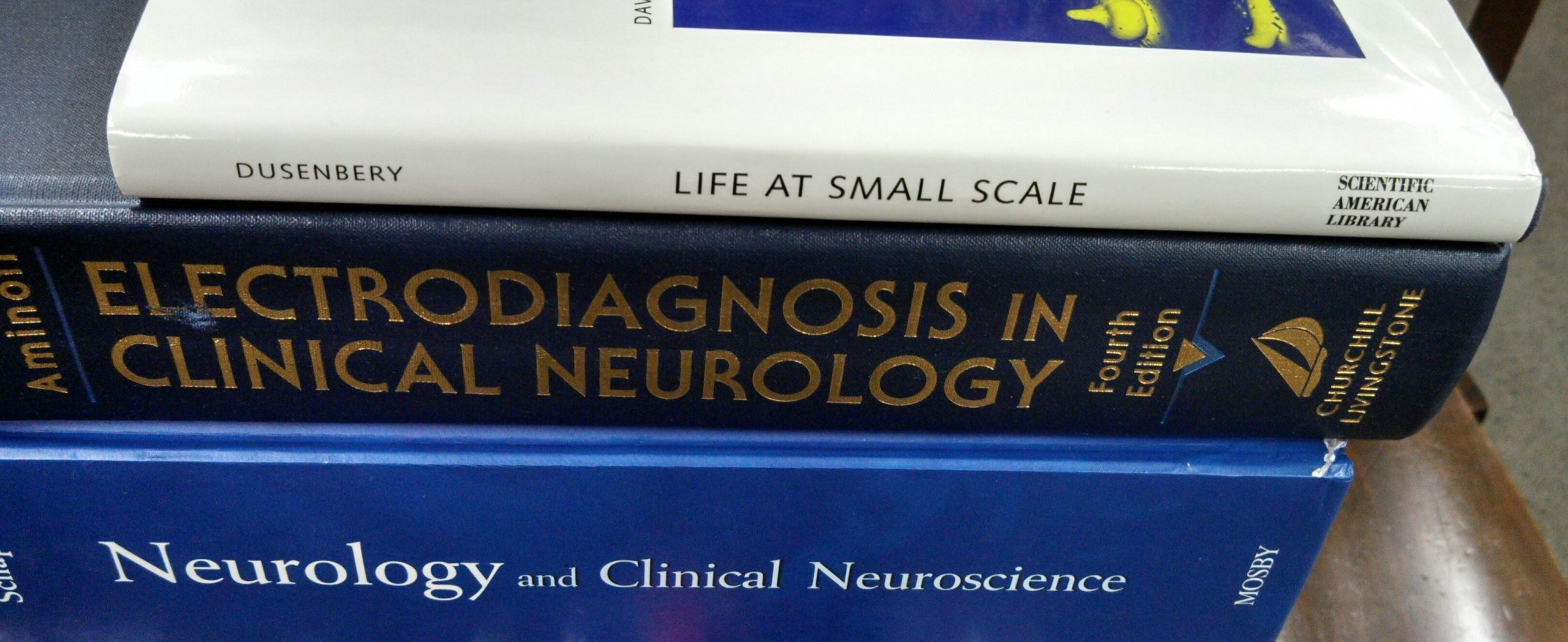 A stack of Biology books