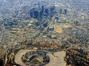 Aerial shot of Dodger Stadium