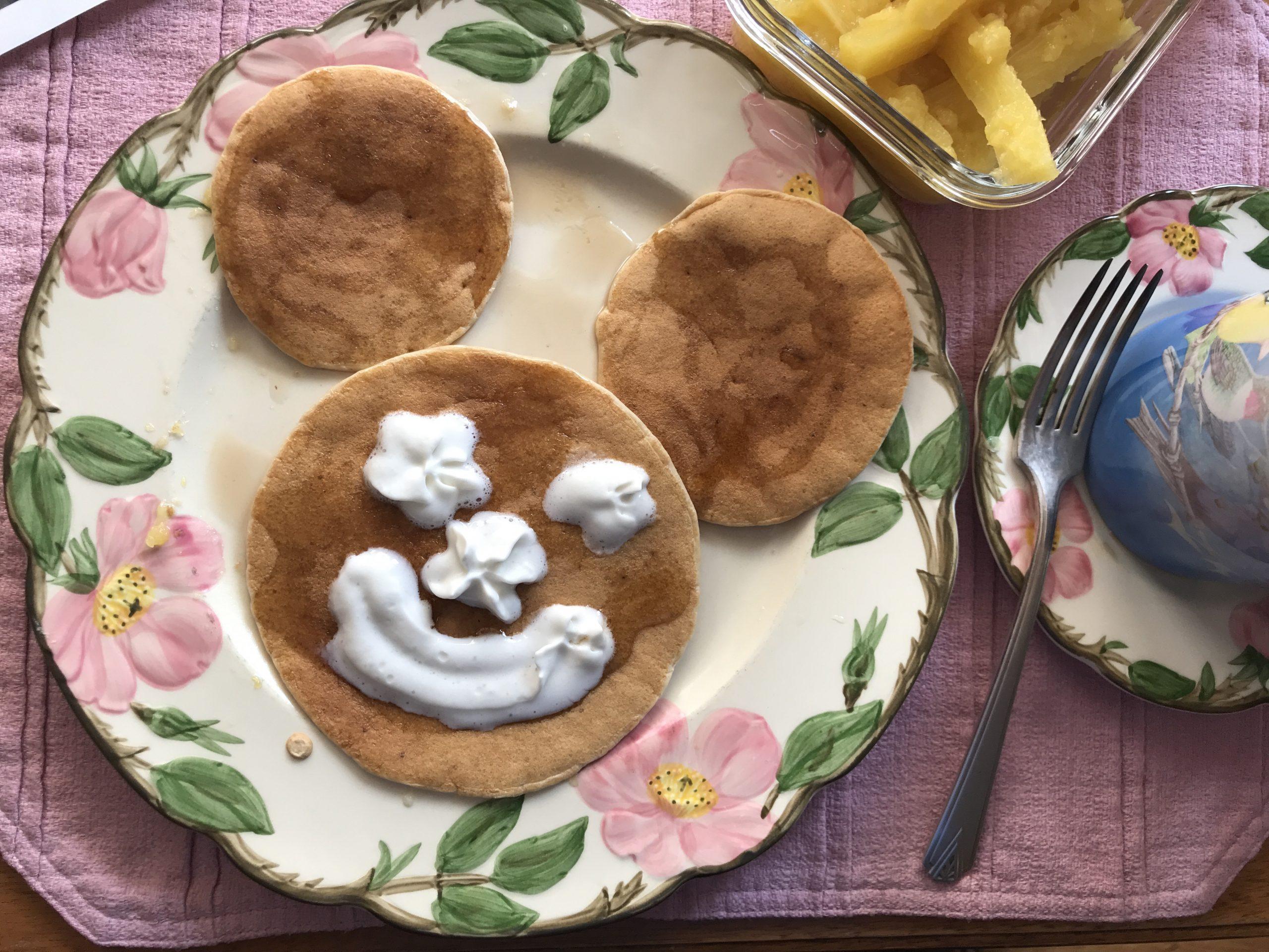 Smiley face on a pancake