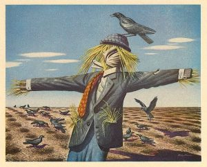 scarecrow with bird on its head