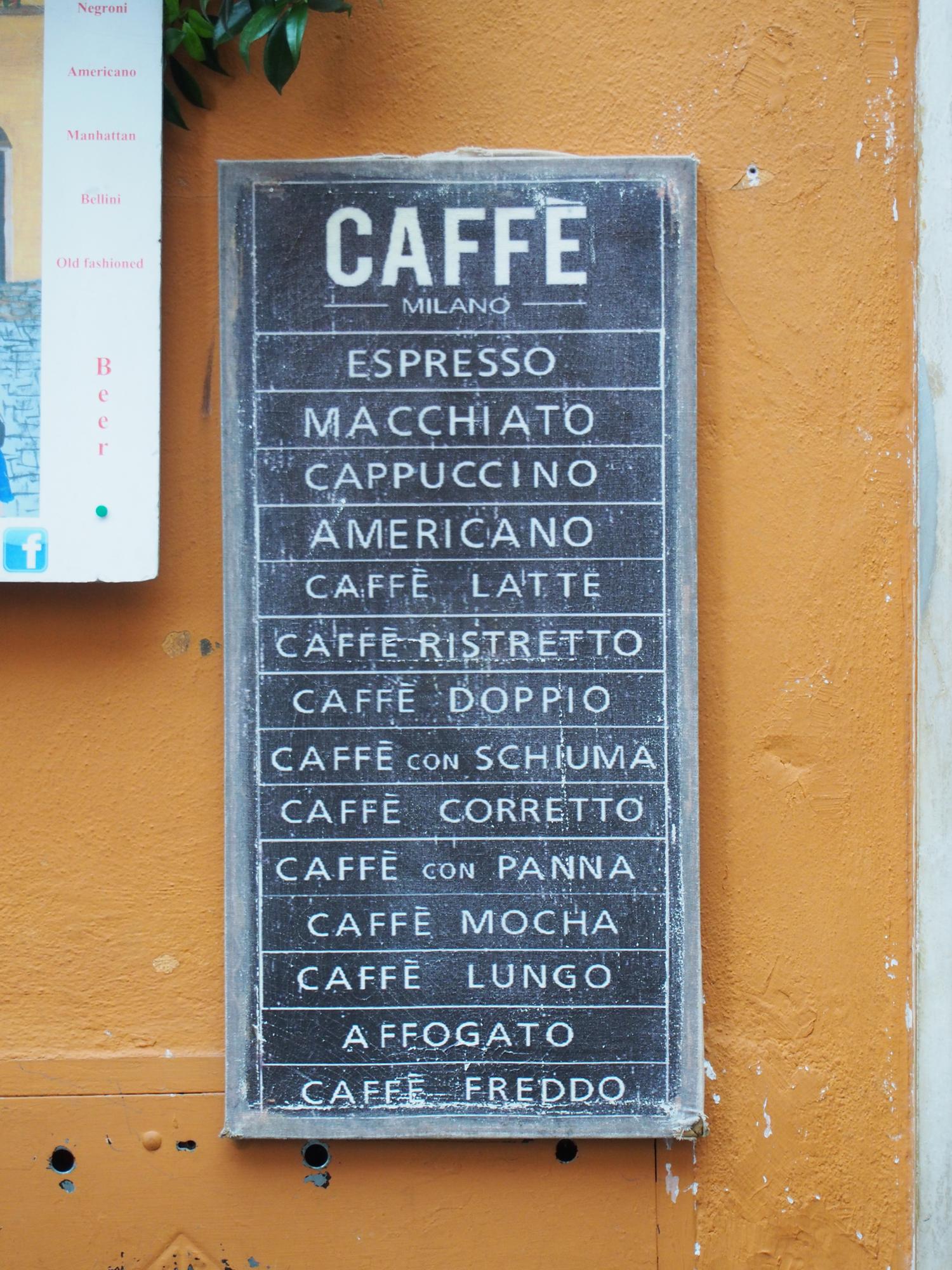 caffè chalkboard menu