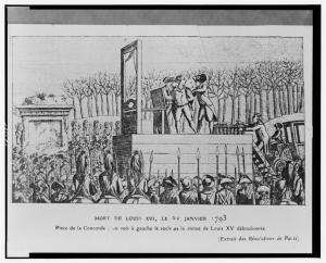 Mort de Louis XVI, le 21 janvier 1793 Place de la Concorde - on voit à gauche le socle de la statue de Louis XV déboulonnée.
