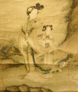 detail of Xie Wenli painting of Xi Wangmu (Queen Mother of the West)